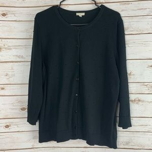 Talbots Factory XL cardigan sweater black dotted